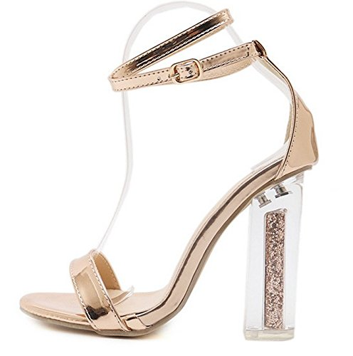 Sandalen Damen Mode High Heel Kristall Dick mit Sexy Wort Band Schuh Golden