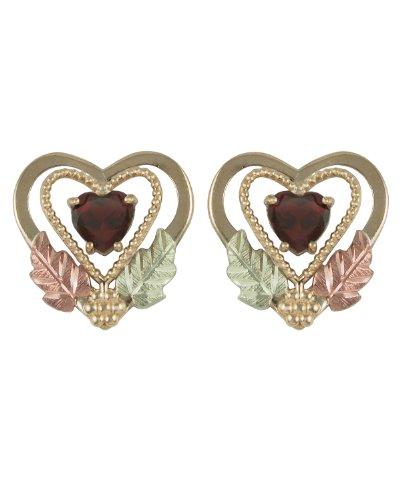 Garnet Double Heart Earrings, 10k Yellow Gold, 12k Green and Rose Gold Black Hills Gold Motif by The Men's Jewelry Store (for HER)