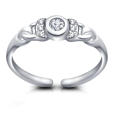 Jewelry & Watches Friendly 14k White Gold Over Round Cut Black Diamond With Adjustable Heart Style Toe Ring