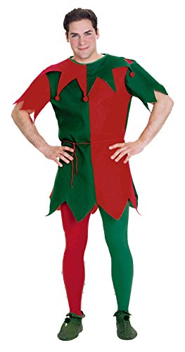 Holiday Elf Adult Costumes (Forum Christmas Tights, Red & Green, Plus Size)