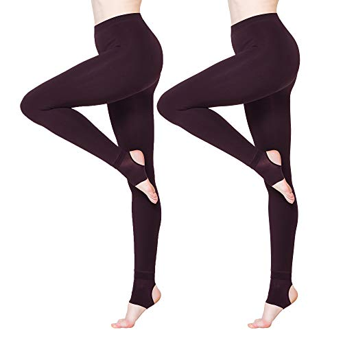 - BONAS 2packs Women's Thermal Leggings Fleece Lined Casual Tights Red Wine