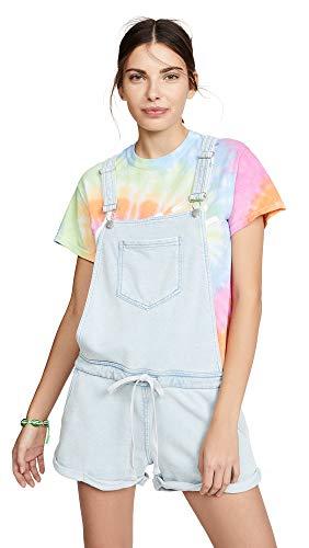 (Z SUPPLY Women's Knit Denim Shortalls, Dusty Blue, Medium)