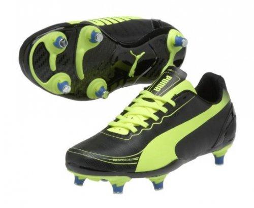Evospeed 5.2 SG - Chaussures de Foot pour Enfants Noir/Jaune Fluo