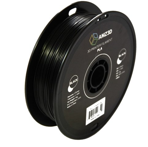 1.75mm Black PLA 3D Printer Filament - 1kg Spool (2.2 lbs) - Dimensional Accuracy +/- 0.03mm by AMZ3D