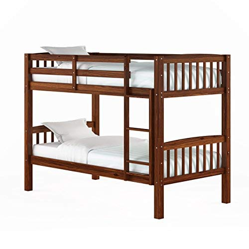 Double Bed Walnut - CorLiving BDN-290-B Dakota Bunk Bed Single/Double Walnut Brown