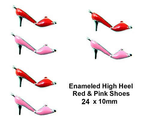 Enamel High Heel (PlanetZia 8pcs Red or Pink Enameled High Heel Shoe Metal Charms for Jewelry Making TVT-BL-HHC (Pink))