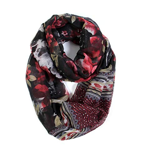 Scarfand's Romantic Rose & Flower Spring Fashion Lightweight Versatile Infinity Scarf