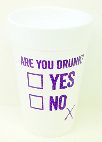 Are You Drunk? Can You Check Yes or No Styrofoam Party Cups 10 (16 Oz.) Pack - White with Purple Lettering Printed on Front & Back