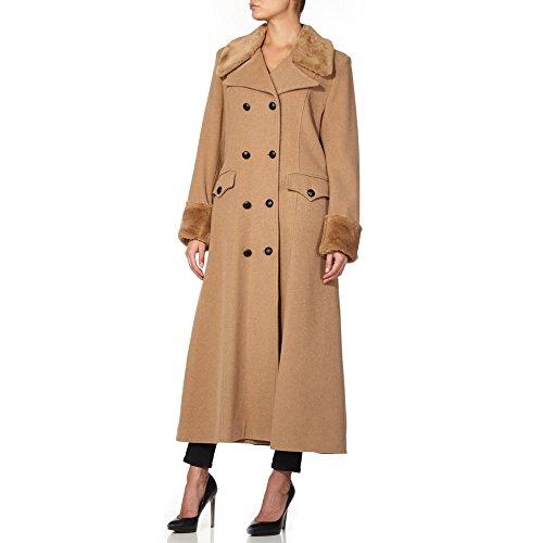 Fausse Fourrure En D'hiver Laine Pour Femme Cachemire 36 Anastasia Col De Manteau Camel Taille Long Avec 0twqO7B