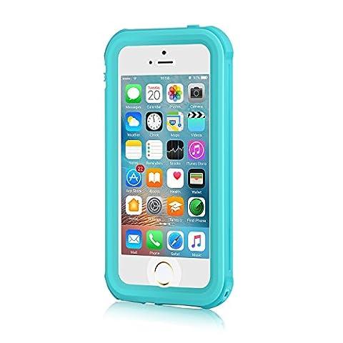 iPhone SE Waterproof Case, Meritcase iPhone SE/5S/5 Waterproof Shock-Resistant Dirtproof Snowproof Case for Swimming (Blue Waterproof Iphone Case)