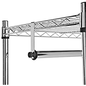 AmazonBasics Garment Rack with Top and Bottom Shelves - Chrome