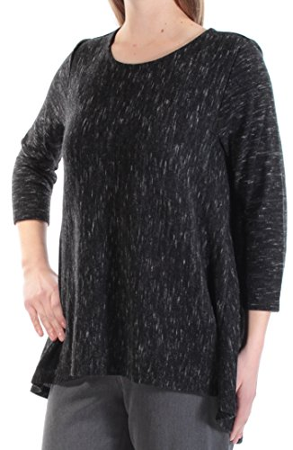 INC $59 Womens New 1666 Black Jewel Neck 3/4 Sleeve Hi-Lo Casual Sweater M ()
