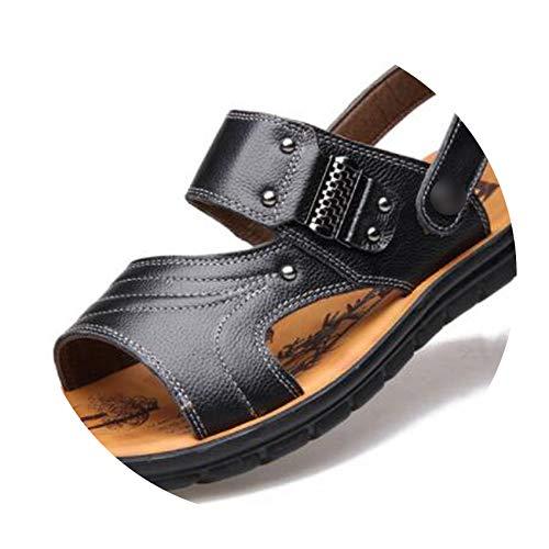 Sandals Men Leather Split Vintage Flat Solid for Men Breathable Shoe,Black(2201),39