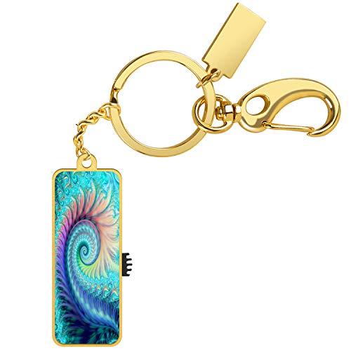 Merciey USB Flash Drive Swirl Feather Customized Pattern 16 GB Storage Thumb U Disk Pen Interface Drive Memory Stick Storage Data USB Storage Device-Gold