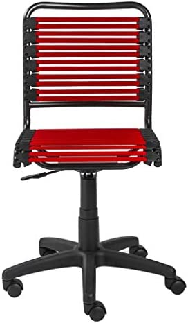 UKN 18.12″ X 24″ 37.21″ Red Flat Bungie Cords Low Back Office Chair