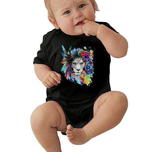 - Watercolor Lion Butterfly Unisex Newborn Baby Boys and Girls' 100% Organic Cotton Short Sleeve Bodysuits Clothes Black
