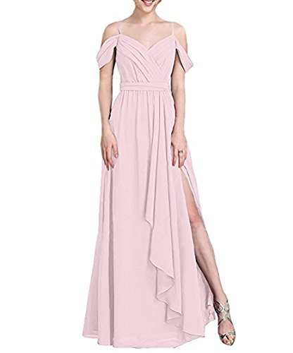 Ligne Bowith Off Robes De Demoiselle D'honneur En Mousseline De Soie De Femmes Épaule Longue Avec Rose À Volants
