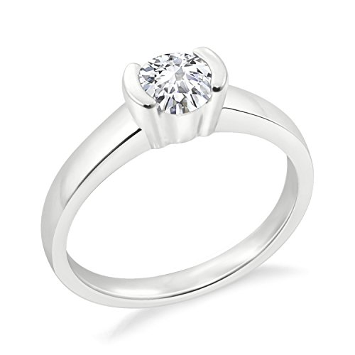 Diamond Scotch 14k White Gold Plated Solitaire Ring Cubic Zirconia Half Bezel Set Solitaire Engagement Ring Gift for ()