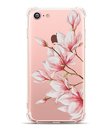 iPhone 8 Case, iPhone 7 Soft Case, Hepix Clear Magnolia Vintage Flower Floral Pattern TPU Back Cover [4.7 (Magnolia Pattern)