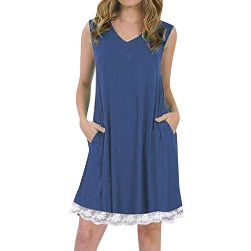 Tantisy ♣↭♣ Women's Summer Sleeveless Casual Loose Swing T-Shirt Dress with Pockets Pleated Lace Hem Design/S-5XL Navy