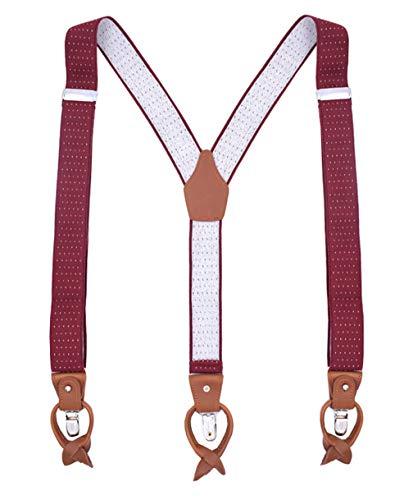 MENDENG Heavy Duty Suspenders for Men Leather Burgundy Dot Braces 6 Buttons Gift