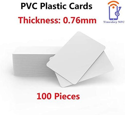 100 x Blank Weiß PVC Plastik Karten CR-80 30mil Kompatibel Mit ID Karten Drucker Von Timeskey