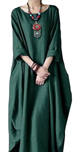 Jaycargogo Été De La Mode Linge De Coton Casual Femmes Robe Longue Avec Une Robe Manches Chauve-souris Noire