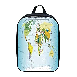 Wanderlust Decor Canvas Backpack,World Map with Countries and Capital Cities of the Earth with Oceans and Lakes Graphic Art for Playgrounds,One_Size