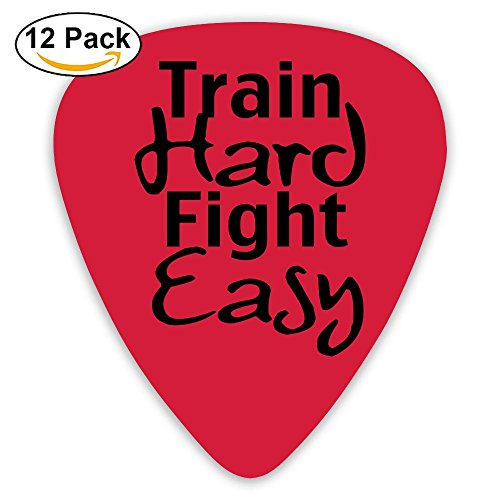 Celluloid Guitar Picks Best Gift For Guitar Lover Bass Guitar Plectrums,Print Train Hard Fight Easy,0.46mm/0.73mm/0.96mm,12 Pack
