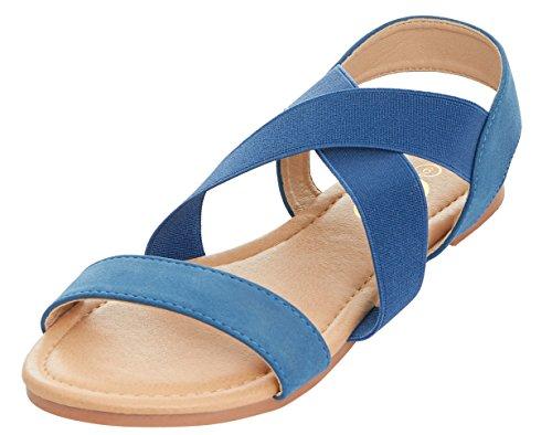 Womens Strap Floopi Cross Summer Elastic Slingback Blue Sandal Flat Criss SwUdqxURgB