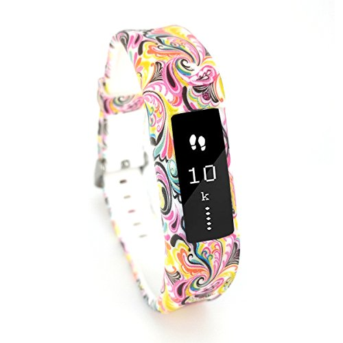 Leotop Compatible with Fitbit Ace Bands Kids, Waterproof Silicone Sports Strap Replacement Floral Pattern Cute Wristband with Case Metal Buckle Compatible Fitbit Ace/Alta HR Boy Girl Women(Peacock)