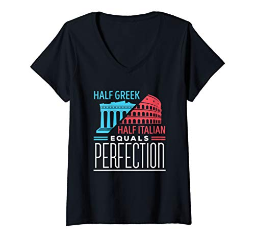 (Womens Half Greek Half Italian V-Neck T-Shirt)