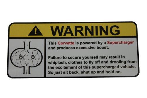 Corvette Supercharger (Corvette Warning Supercharger, Warning decal, sticker)