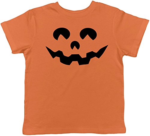 (Toddler Cartoon Eyes Pumpkin Face Funny Fall Halloween Spooky T Shirt (Orange))