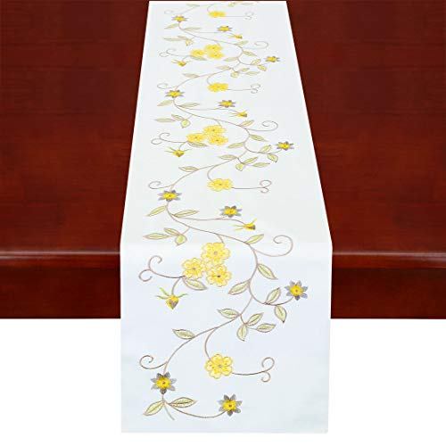 Simhomsen Double Thickness Rustic Embroidered Floral Table Runners for Spring and Summer, Dresser Scarf (Yellow, 14 × 70 Inch)]()