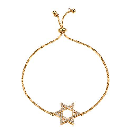 Suplight Star of David Chain Bracelet Fully Adjustable 18K Gold Plated Hexagram Magen David Bracelet Jewish Bracelet