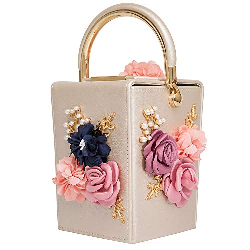 Women Satin Flower Evening Bag Box Clutch Bridal Clutch for Wedding Prom Cocktail Party (Cream)