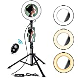8' Selfie Ring Light with Tripod Stand & Cell Phone Holder for Live Stream/YouTube Videos, Bosledy Makeup Lights with Mirror, Mini Led Camera Ringlight for Photography