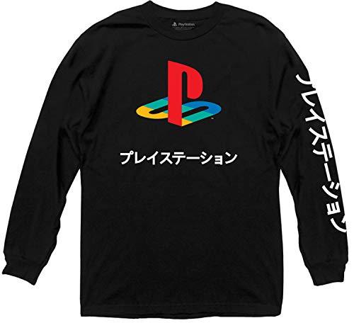Sony Playstation Logo Japanese Kanji Adult Longsleeve T-Shirt (Black,Large)
