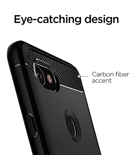 Spigen Rugged Armor Google Pixel 2 XL Case with Resilient Shock Absorption and Carbon Fiber Design for Google Pixel 2 XL (2017) - Black by Spigen (Image #4)