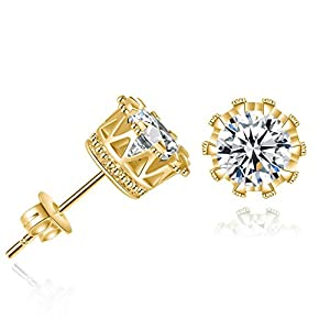 Bling Toman Round Cut Cubic Zirconia Stud Earrings Crown Earring 6mm,Coronation for Love