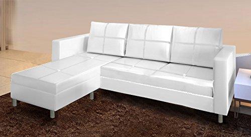 Divano angolare moderno ecopelle con pouf sofa soggiorno bianco nero