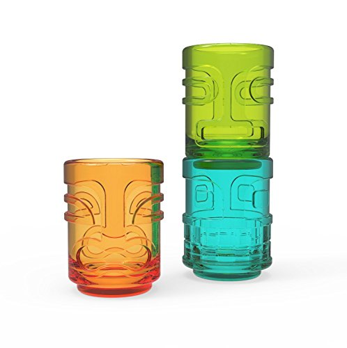 (Shot Glass Set, Tiki Trio Assorted Colors Funny Cute Shot Glass, Set Of 3 (Sold by Case, Pack of)
