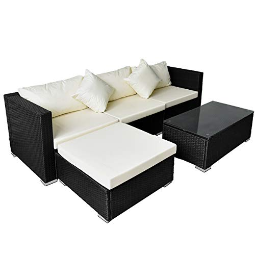 Pamapic Outdoor 5 Pieces Patio Furniture Sets【Chaise Longue】 Wicker Rattan Conversation Set with Tempered Glass Coffee Table