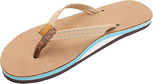 Rainbow Sandals Women's Single Layer Premium Leather w/Colorful Midsole/Narrow Strap Sandal, Sierra Brown/Ocean, Ladies Small / 5.5-6.5 B(M) US ()