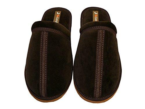 Bawal - Zapatillas de estar por casa de algodón para hombre Braun-Box