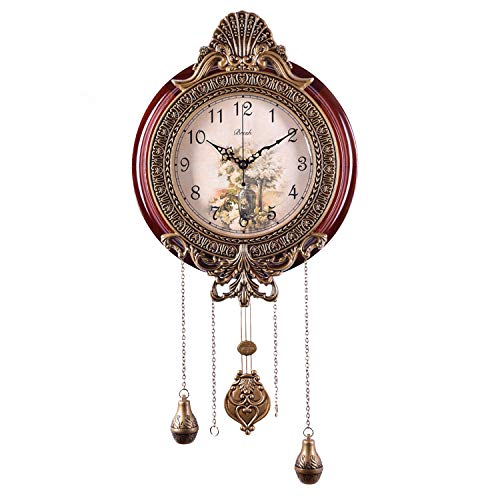 (Gooday Vintage Wall Clock with Swing Pendulum Battery Operated Non Ticking Large Antique Metal Wood Clocks for Living Room)