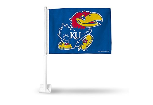 Rico NCAA Kansas Jayhawks Car Flag, Blue, with White Pole by Rico
