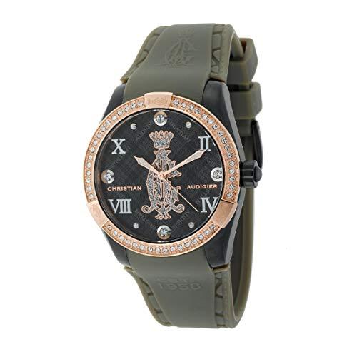 Christian Audigier Ladies Black Argyle Smart Rubber Strap 2-Toned Watch INT-313