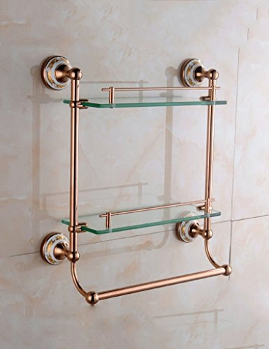 DIDIDD Shelf-Extremely Firm Shower Shelf Bathroom Copper Plated Rose Gold Single Layer Double Layer Glass Makeup Stand Bathroom Towel Rack Pendant Ensuring Quality,4 by DIDIDD